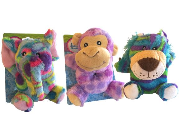 Safari Plush Animal Baby Rattle - Baby Gifts - Santa Shop Gifts