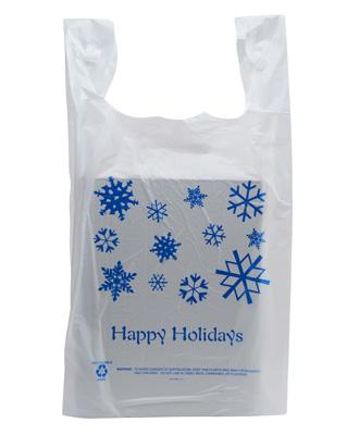 50 Pack - Happy Holidays T-Shirt Shopping Bags - Holiday Shop Gift Bags - Santa Shop Gifts