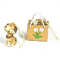 Dog Ornament In Flower Gift Bag - Christmas - Holiday Gifts - Santa Shop Gifts