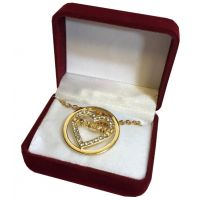 Grandma Crystal Gold Heart Necklace in Maroon Box - Grandma Gifts - Santa Shop Gifts