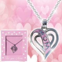 Mom Pink Heart Necklace - Mom Gifts - Santa Shop Gifts